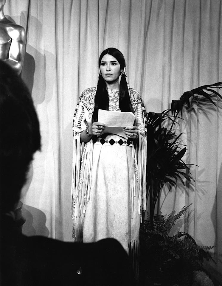"""Marlon Brando sends Sacheen Littlefeather on stage (1973): Brando won best actor for his iconic portrayal of Don Corleone in """"The Godfather."""" But he refused to accept the award, and instead sent a woman who said she was an Apache named Sacheen Littlefeather to speak on his behalf. Brando was protesting what he believed to be stereotypical treatment of Native Americans in the film industry. Littlefeather's speech drew a mixture of applause and boos, as well as questions about whether she was truly a Native American herself."""