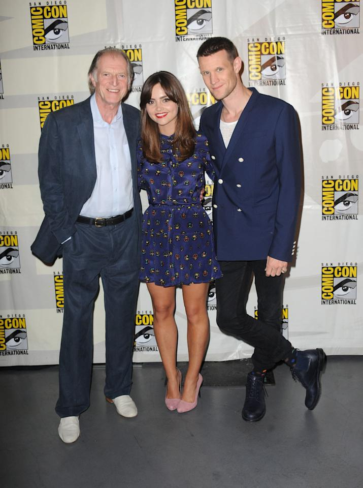 """David Bradley, Jenna Coleman, and Matt Smith at BBC America's """"Doctor Who"""" 50th Anniversary panel during Comic-Con International 2013 at San Diego Convention Center on July 21, 2013 in San Diego, California."""