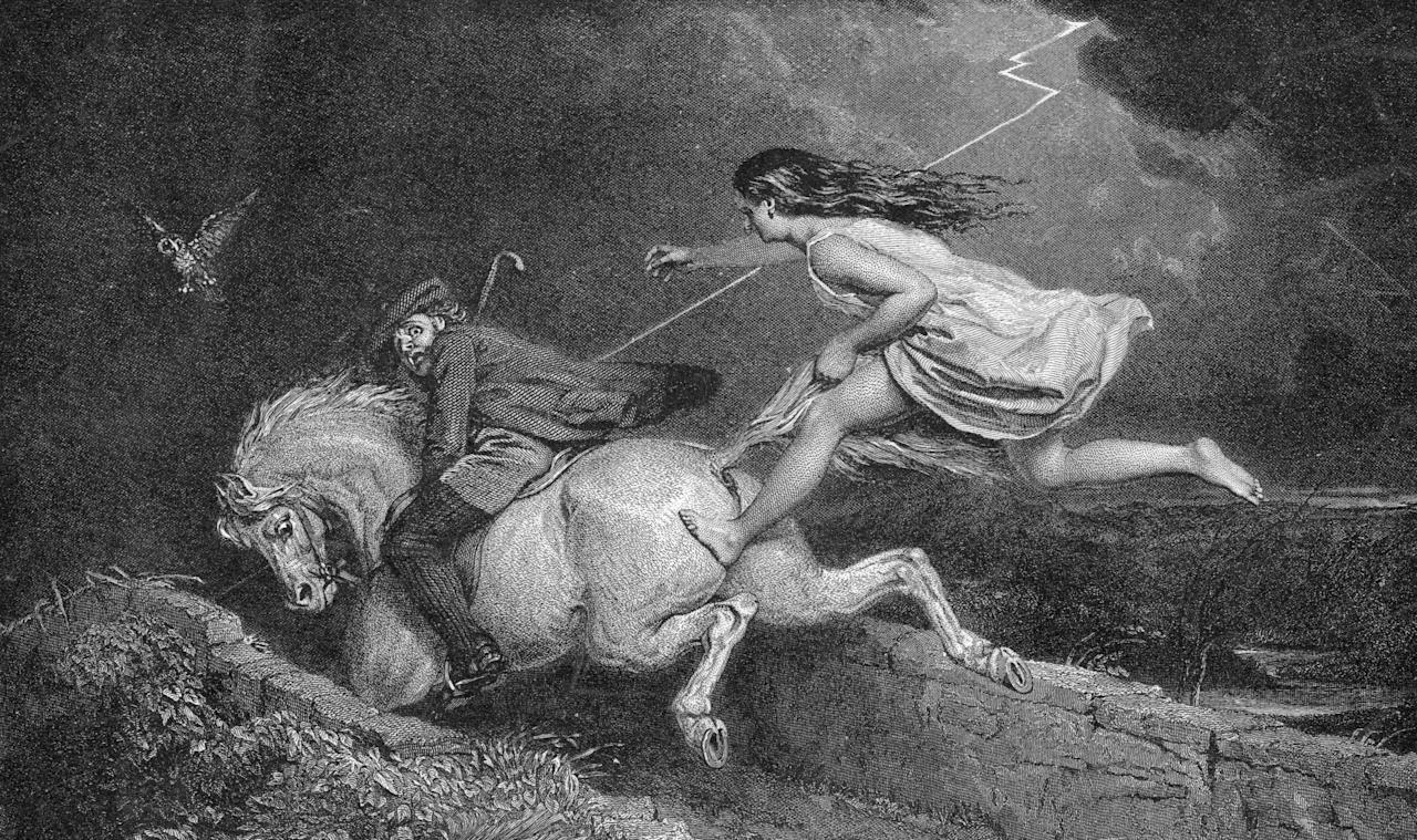 1788: Tam O'Shanter riding his mare from the 'hellish legions'. 'Ae spring brought off her master hale But left behind her ain gray tail'. An episode from the narrative verse by Robbie Burns. (Photo by Hulton Archive/Getty Images)