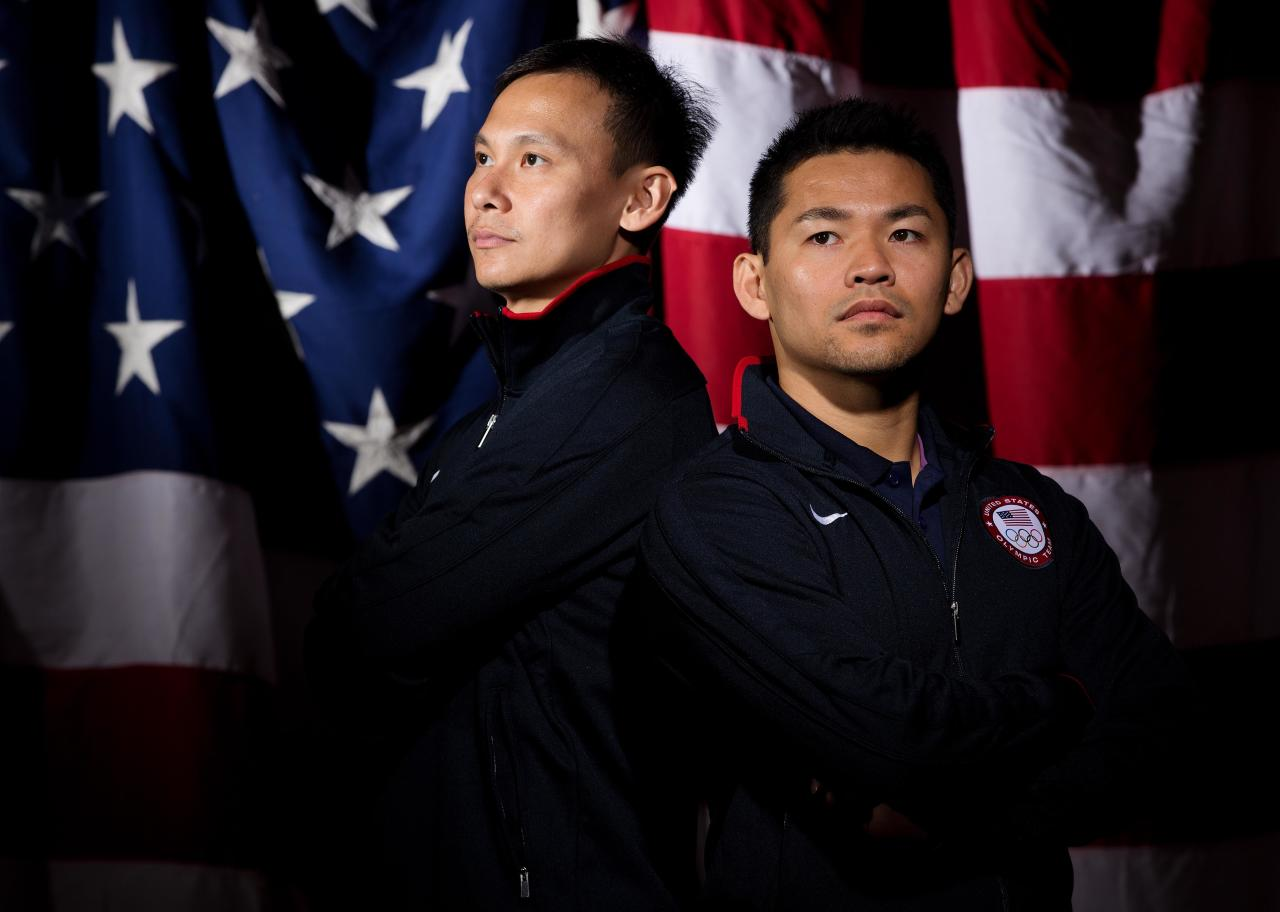 May 14, 2012; Dallas, TX, USA;  Team USA men's badminton competitors Howard Bach (right) and Tony Gunawan (left) during a portrait session at the 2012 Team USA Media Summit at the Hilton Anatole. Mandatory Credit: Kevin Jairaj-US PRESSWIRE