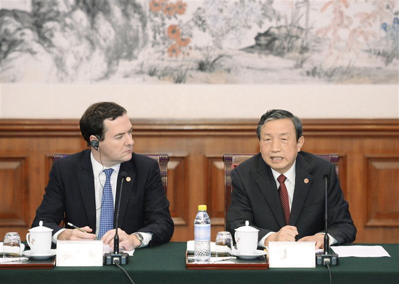 Chinese Vice Premier Ma talks with Britain's Chancellor of the Exchequer Osborne during a meeting in Beijing
