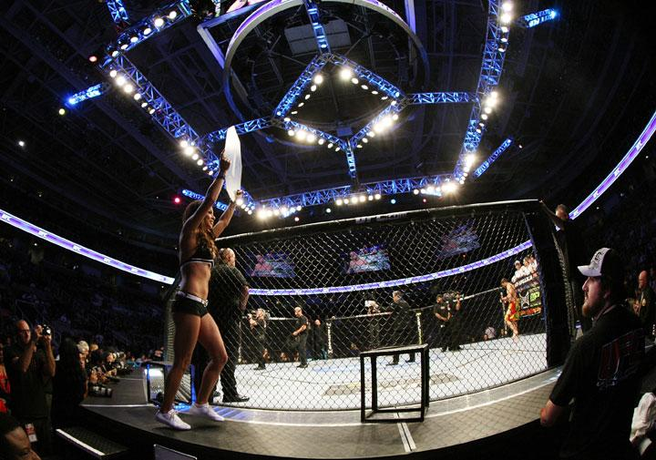 SAN JOSE, CA - NOVEMBER 19: UFC Octagon Girl Arianny Celeste introduces round one during the Ryan Bader/Jason Brilz UFC Light Heavywieght bout at the HP Pavillion on November 19, 2011 in San Jose, California.