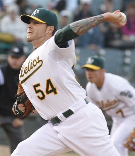 Moss, Blackley lead A's past Padres 10-2