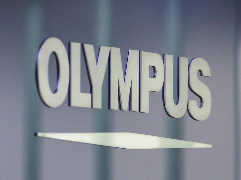 Olympus Corp logo is pictured at the company headquarters in Tokyo