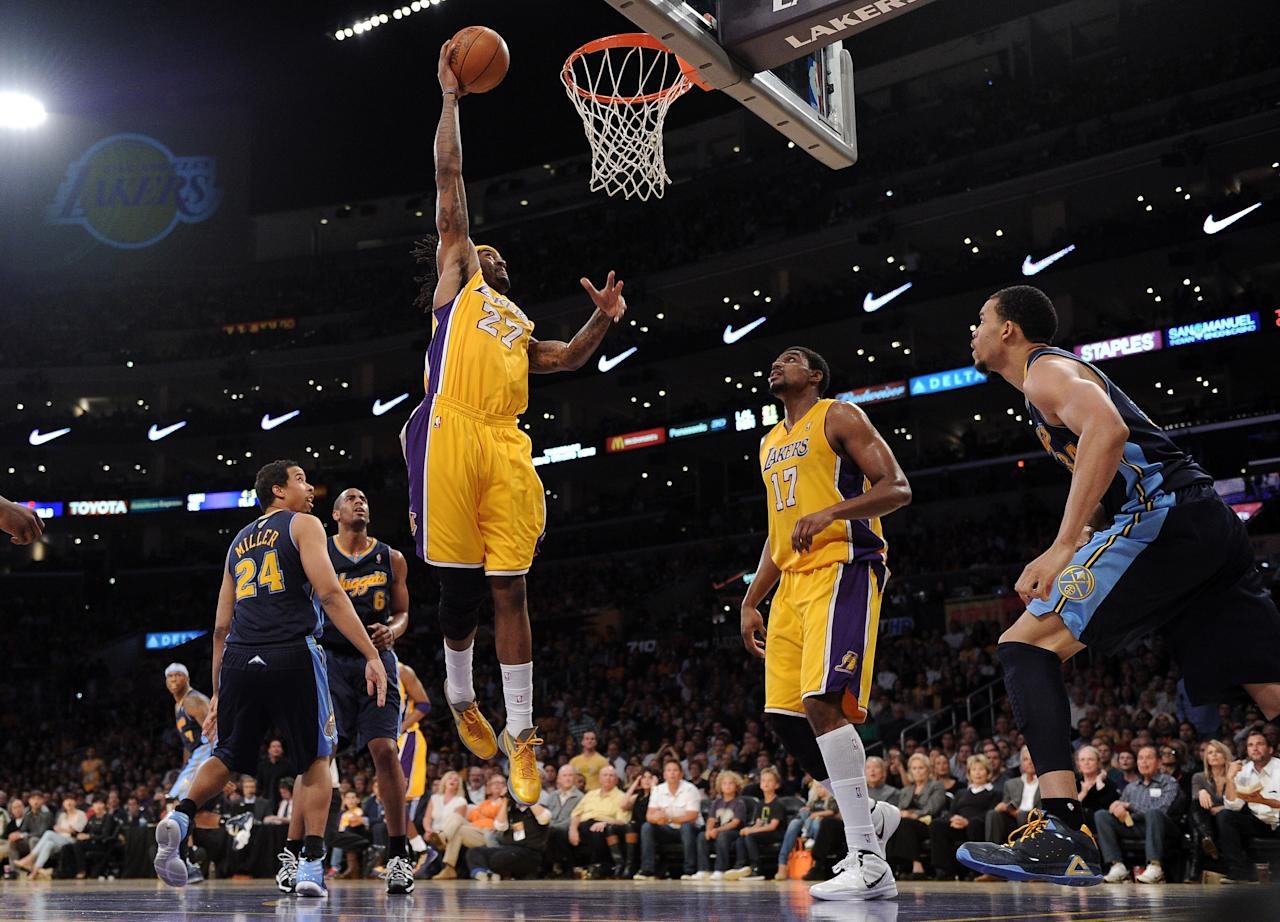 LOS ANGELES, CA - MAY 12:  Jordan Hill #27 of the Los Angeles Lakers goes up for a dunk in the first half against the Denver Nuggets in Game Seven of the Western Conference Quarterfinals in the 2012 NBA Playoffs on May 12, 2012 at Staples Center in Los Angeles, California. NOTE TO USER: User expressly acknowledges and agrees that, by downloading and or using this photograph, User is consenting to the terms and conditions of the Getty Images License Agreement.  (Photo by Harry How/Getty Images)
