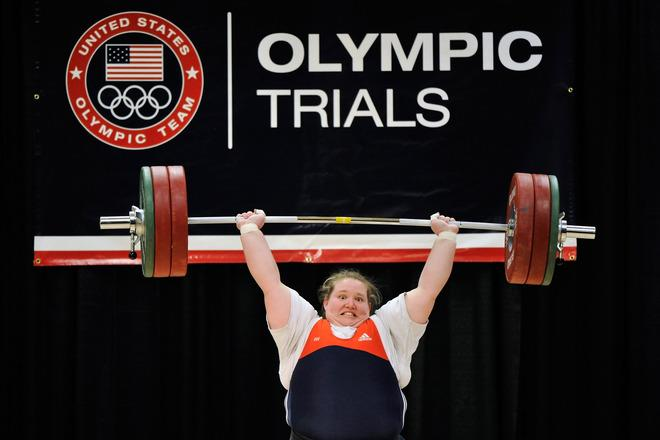 COLUMBUS, OH - MARCH 4:  Holley Mangold successfully completes a 140 kilogram clean and jerk on her first attempt during the 2012 U.S. Olympic Team Trials for Women's Weightlifting on March 4, 2012 in Columbus, Ohio.  (Photo by Jamie Sabau/Getty Images)
