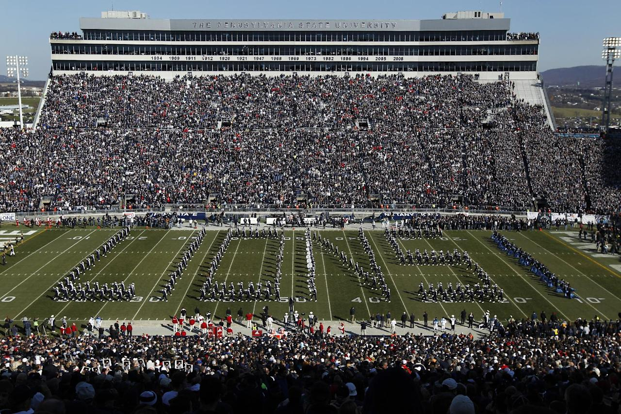 Members of the Penn State's Blue Band perform before an NCAA college football game between Nebraska and Penn State Saturday, Nov. 12, 2011, in State College, Pa. (AP Photo/Matt Rourke)