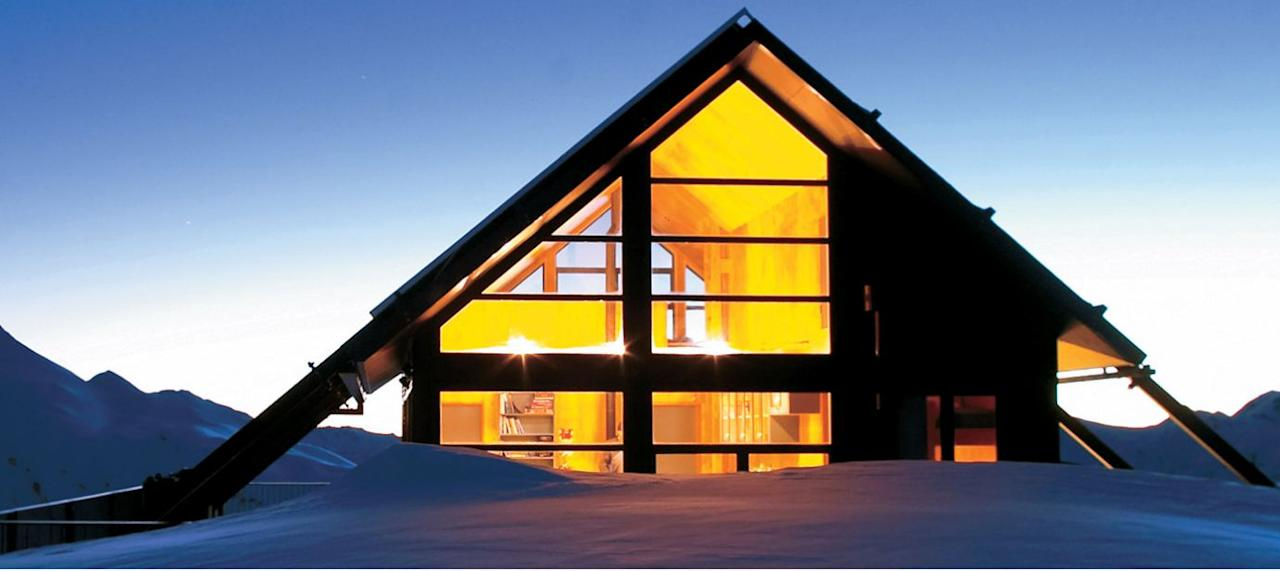 Whare Kea Chalet at night