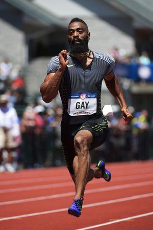 Jul 2, 2016; Eugene, OR, USA; Tyson Gay competes during the men's 100m first round heats in the 2016 U.S. Olympic track and field team trials at Hayward Field. Mandatory Credit: Kirby Lee-USA TODAY Sports