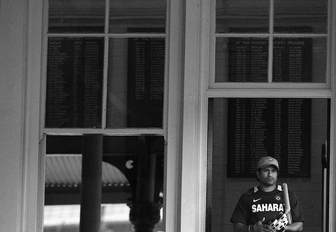 SYDNEY, AUSTRALIA - FEBRUARY 26: (EDITOR'S NOTE: This digital image has been converted to black and white)  Sachin Tendulkar of India walks out to warm up before his last match at the SCG,  the One Day International match between Australia and India at Sydney Cricket Ground on February 26, 2012 in Sydney, Australia.  (Photo by Ryan Pierse/Getty Images)