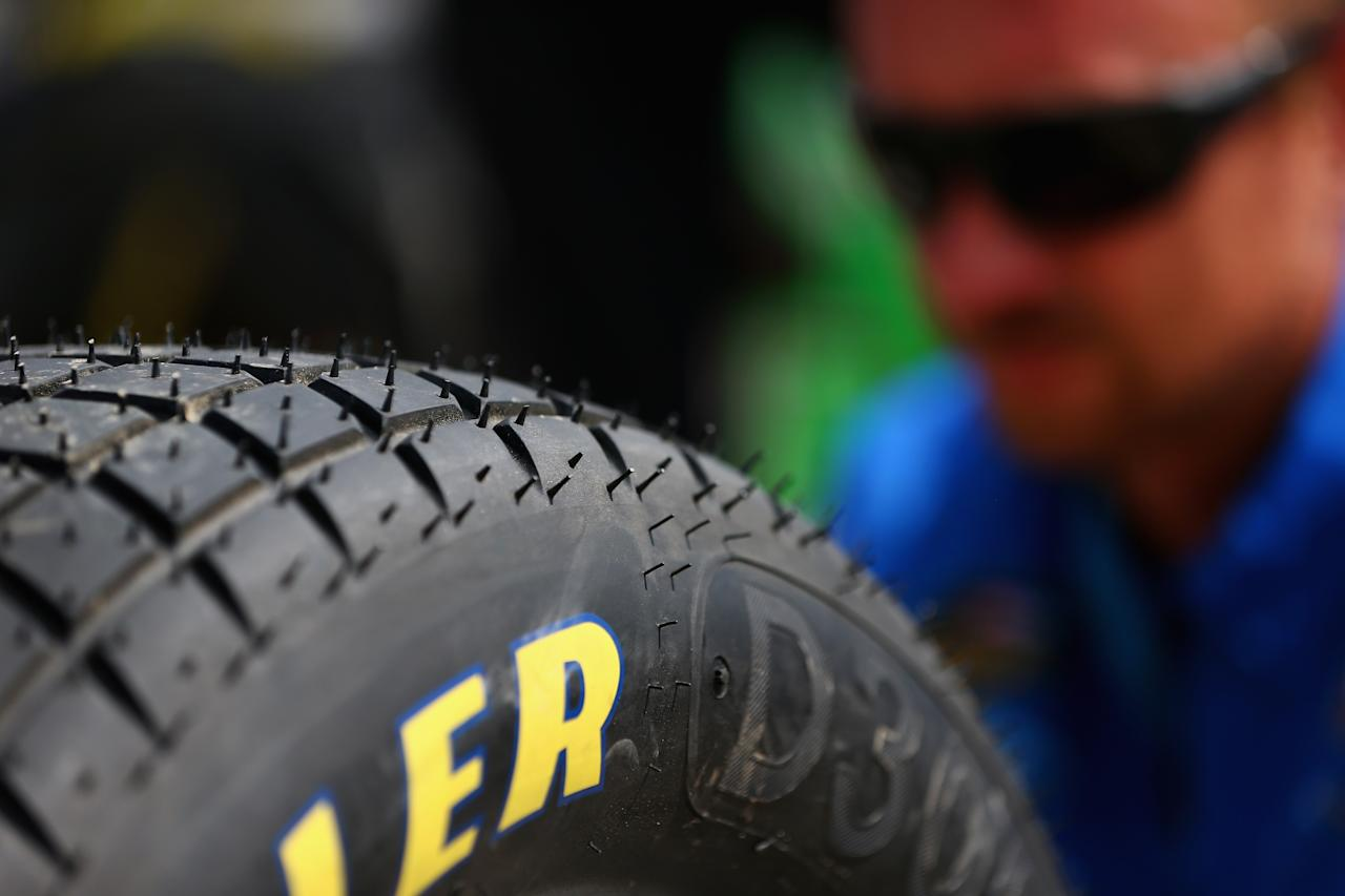ROSSBURG, OH - JULY 23: A detail view of the Goodyear Racing tire made for dirt track racing during practice for the NASCAR Camping World Truck Series inaugural Mudsummer Classic at Eldora Speedway on July 23, 2013 in Rossburg, Ohio. (Photo by Tom Pennington/Getty Images)