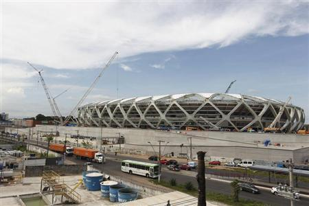 A view of the Arena Amazonia soccer stadium after a worker fell to his death in Manaus