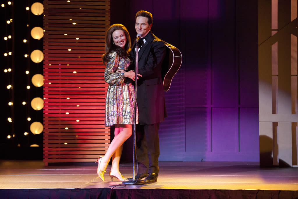 """Jewel as June Carter Cash and Matt Ross as Johnny Cash in the Lifetime Original Movie, """"Ring of Fire."""""""