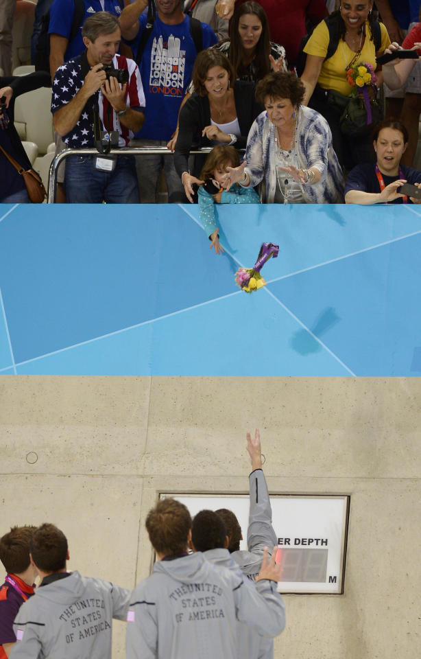 United States' Michael Phelps throws flowers to his mother Debbie after his team won silver in the men's 4x100-meter freestyle relay final at the Aquatics Centre in the Olympic Park during the 2012 Summer Olympics in London, Sunday, July 29, 2012. (AP Photo/Mark J. Terrill)