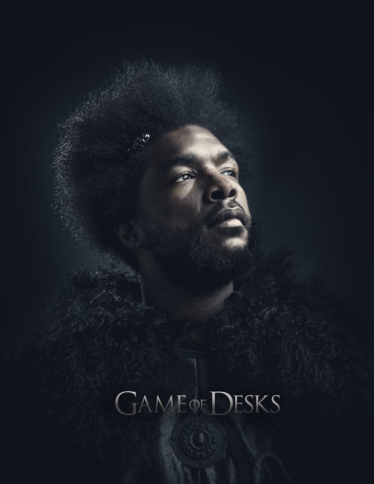 """Ahmir Thompson in """"Game of Desks"""" on """"Late Night With Jimmy Fallon."""""""