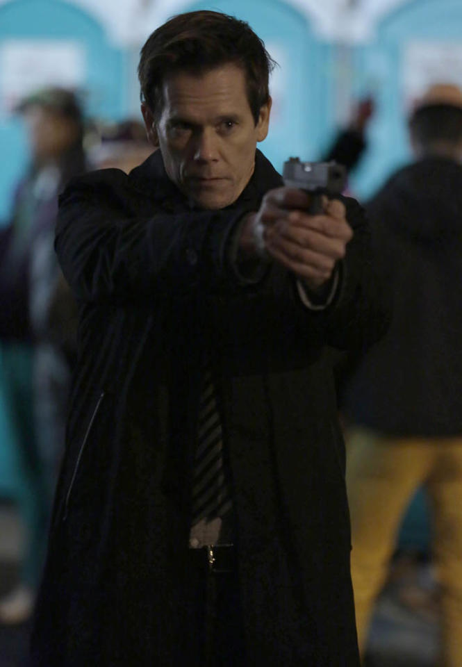 "Ryan (Kevin Bacon) goes after Joe Carroll's followers in the ""Love Hurts"" episode of ""The Following."""