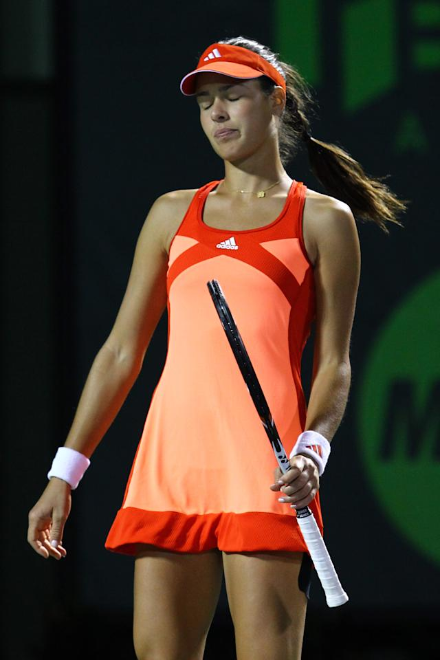 KEY BISCAYNE, FL - MARCH 26:  Ana Ivanovic of Serbia reacts to a lost point against Venus Williams of the USA during Day 8  at Crandon Park Tennis Center at the Sony Ericsson Open on March 26, 2012 in Key Biscayne, Florida.  (Photo by Al Bello/Getty Images)