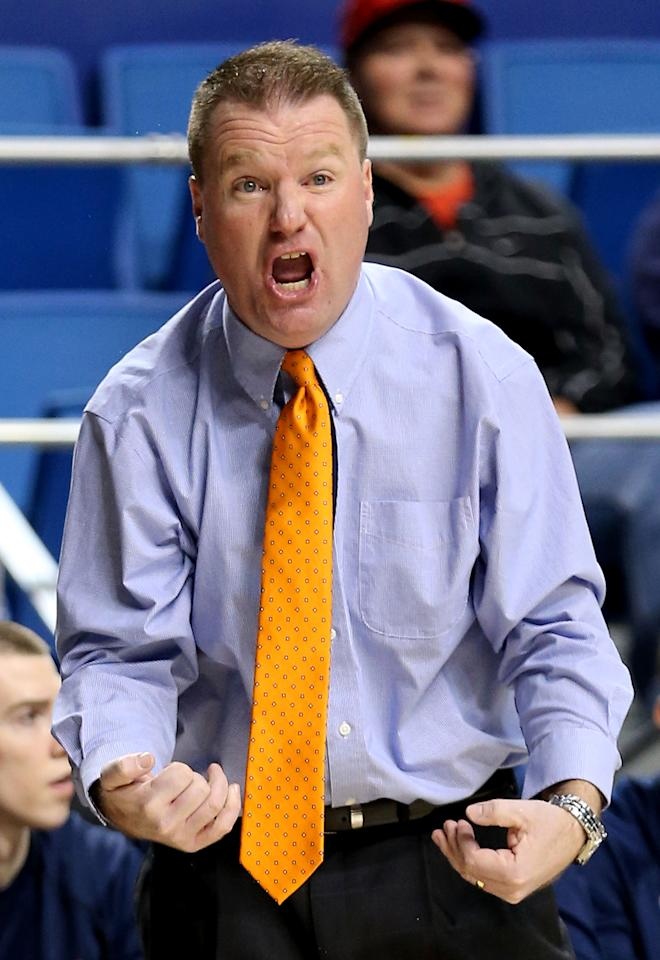 Head Coach Dave Paulsen of the Bucknell Bison reacts in the first half against the Butler Bulldogs during the second round of the 2013 NCAA Men's Basketball Tournament at the Rupp Arena on March 21, 2013 in Lexington, Kentucky.  (Photo by Andy Lyons/Getty Images)