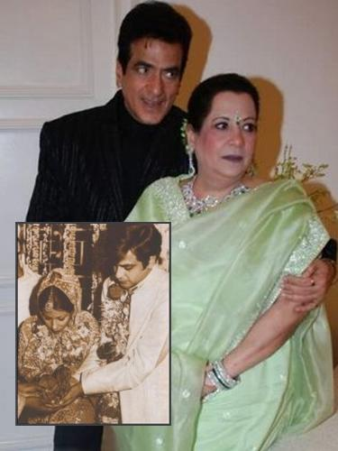 """<b>Jeetendra and Shobha<br><br></b><p> The ever-young star of the yesteryears, Jeetendra started his  Bollywood career in the late 50s, and enthralled all with his energetic  dance movements. Although there were rumours of him being <span class=""""st"""">infatuated </span> with Hema Malini, but he went on to marry Shobha. She was then working as an air hostess <span class=""""st"""">with British Airways</span>. Their children, Ekta Kapoor and Tushar Kapoor, are doing well in their own rights today.</p>"""