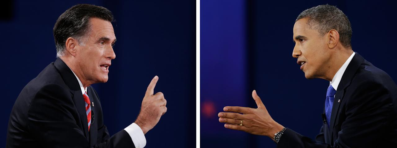 In this photo combo, Republican presidential nominee Mitt Romney, left and President Barack Obama face each other during the third presidential debate with President Barack Obama at Lynn University, Monday, Oct. 22, 2012, in Boca Raton, Fla. (AP Photo/Eric Gay, David Goldman)