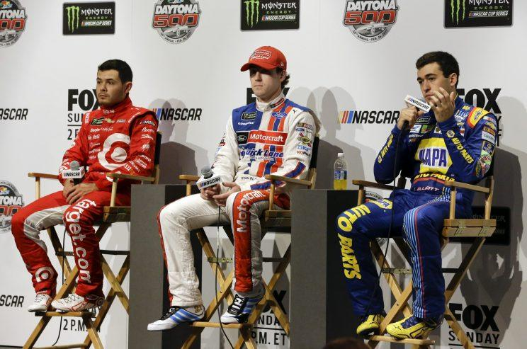 Kyle Larsen, left, Ryan Blaney, middle, and Chase Elliott are the future stars of NASCAR. (AP)