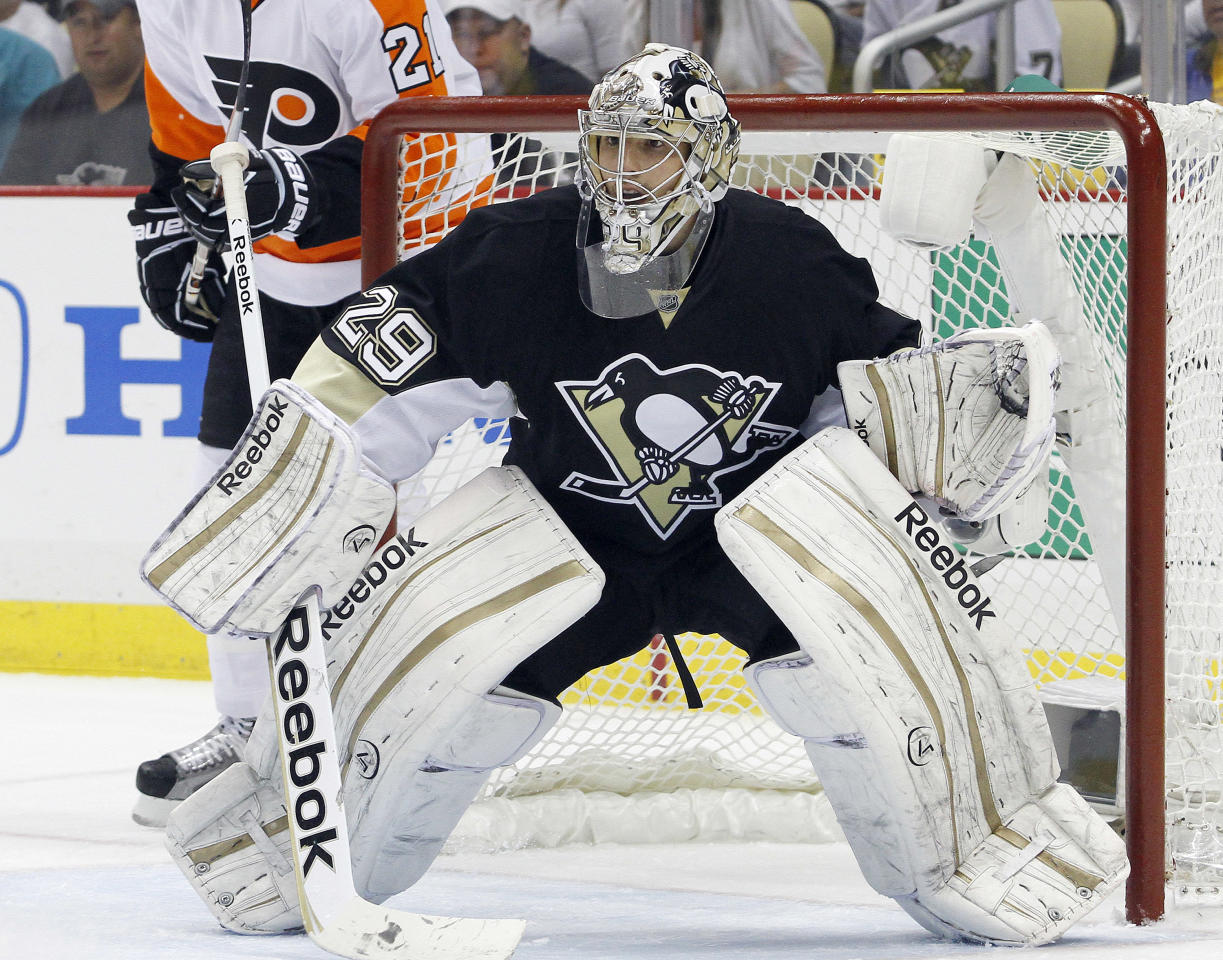 PITTSBURGH, PA - APRIL 20:  Marc-Andre Fleury #29 of the Pittsburgh Penguins protects the net against the Philadelphia Flyers in Game Five of the Eastern Conference Quarterfinals during the 2012 NHL Stanley Cup Playoffs at Consol Energy Center on April 20, 2012 in Pittsburgh, Pennsylvania.  The Penguins defeated the Flyers 3-2.  (Photo by Justin K. Aller/Getty Images)