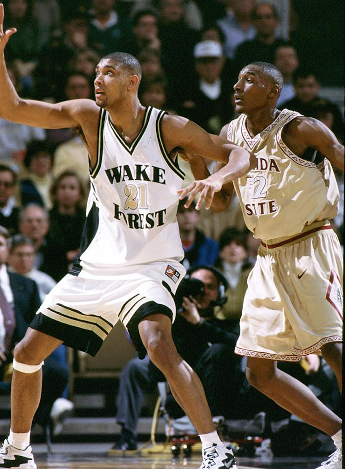 Tim Duncan #21 of the the Wake Forest Demon Deacons calls out for the ball against the Florida State University Seminoles at Lawrence Joel Veterans Colliseum in Winston-Salem, North Carolina.  (Photo by Wake Forrest/Collegiate Images/ Getty Images)