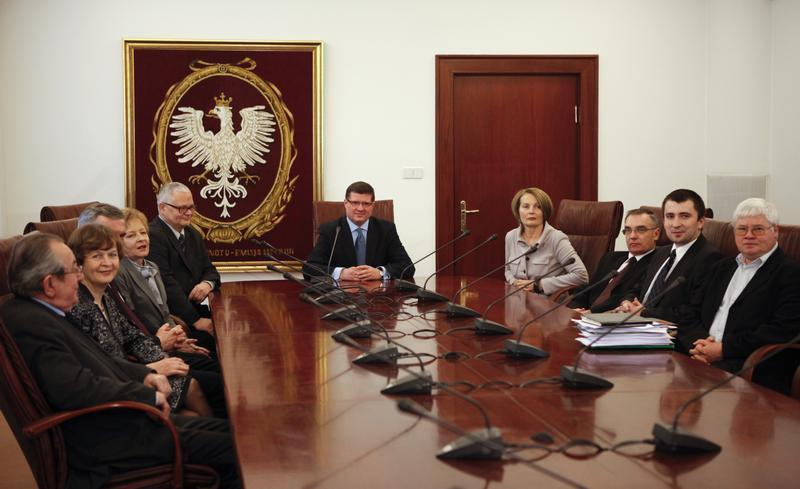 New members of the Polish Monetary Policy Council meet at the National Bank of Poland headquarters in Warsaw