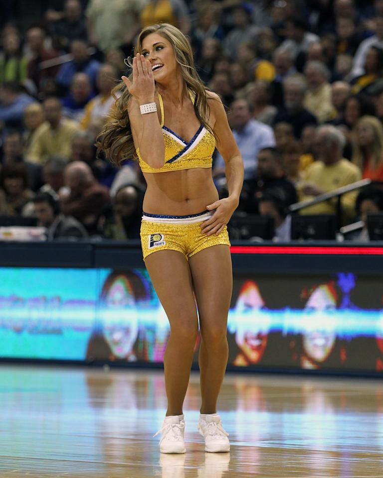 Dec 31, 2013; Indianapolis, IN, USA; Indiana Pacers dance team performs during the game against the Cleveland Cavaliers at Bankers Life Fieldhouse. The Pacers won 91-76. (Pat Lovell-USA TODAY Sports)