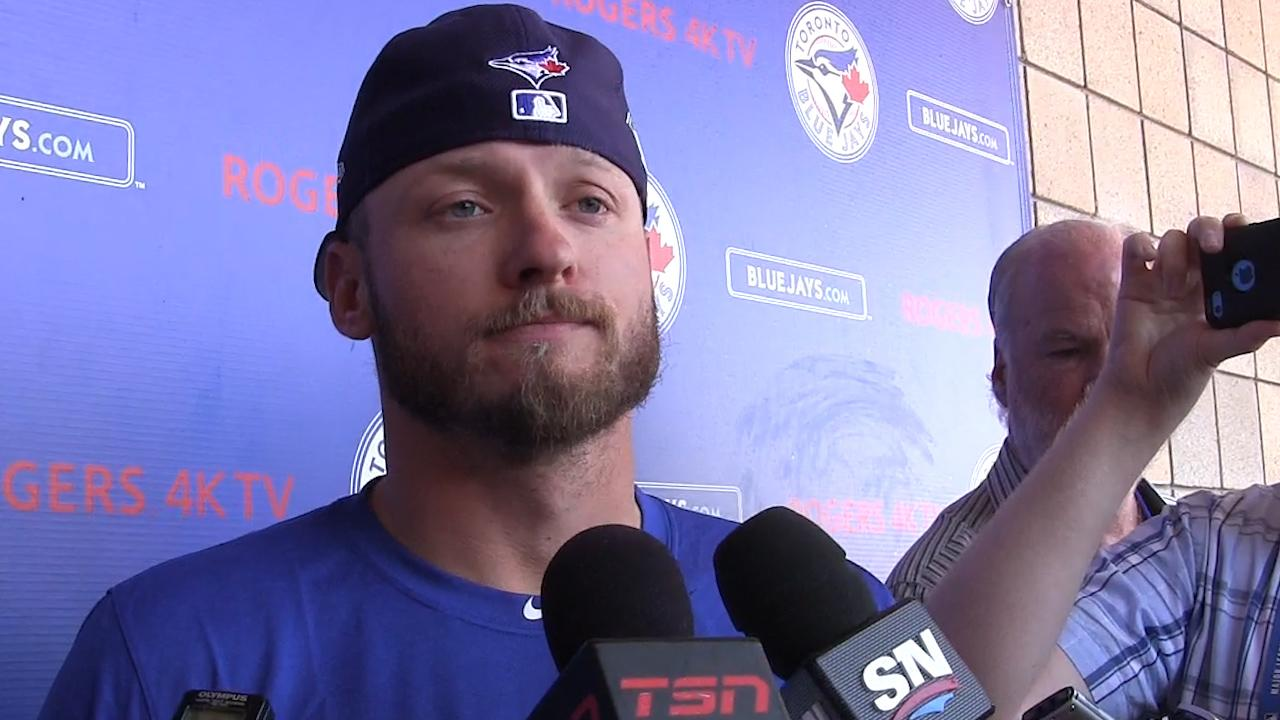 "Toronto Blue Jays third baseman Josh Donaldson suffered a right calf strain during spring training in Florida. Donaldson says the injury is only a ""little bump in the road."""