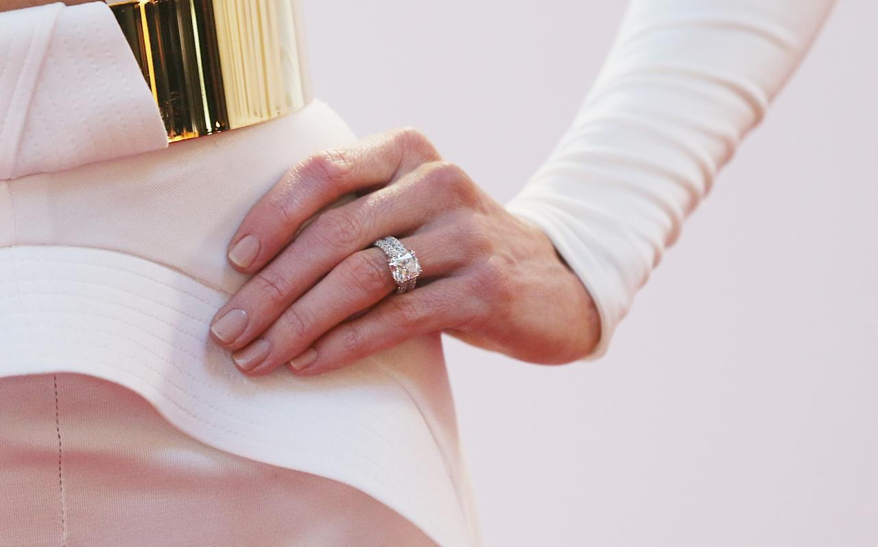MELBOURNE, AUSTRALIA - FEBRUARY 04:  A detail of the ring on the finger of Kyly Clarke, the wife of Michael Clarke of Australia as she arrives at the 2013 Allan Border Medal awards ceremony at Crown Palladium on February 4, 2013 in Melbourne, Australia.  (Photo by Scott Barbour/Getty Images)