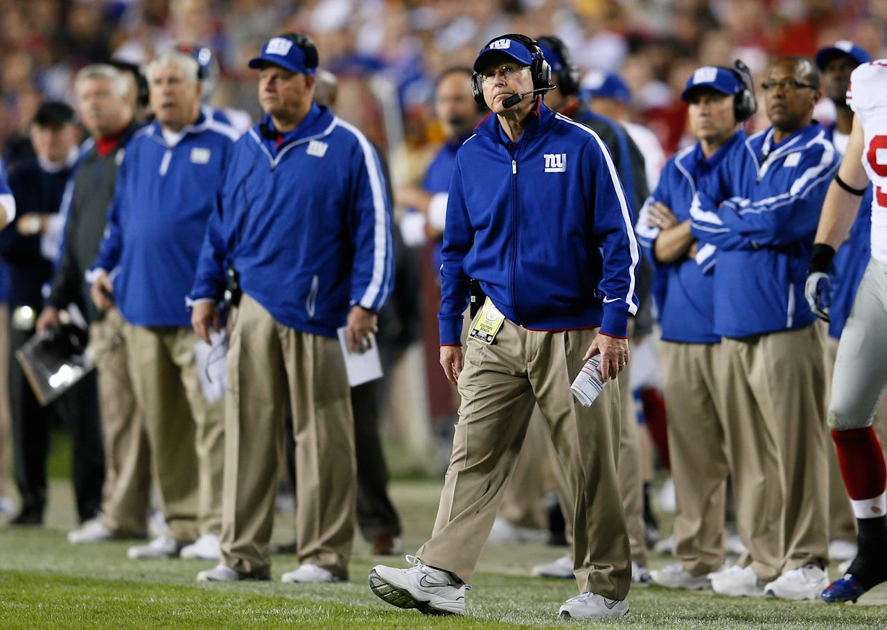 LANDOVER, MD - DECEMBER 03:  Head coach Tom Coughlin of the New York Giants reacts after a third quarter field goal while taking on the Washington Redskins at FedExField on December 3, 2012 in Landover, Maryland.  (Photo by Rob Carr/Getty Images)