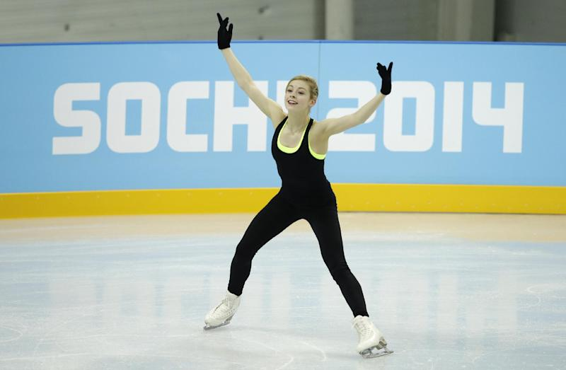 Gracie Gold of the United States skates during a practice session at the figure stating practice rink at the 2014 Winter Olympics, Tuesday, Feb. 18, 2014, in Sochi, Russia