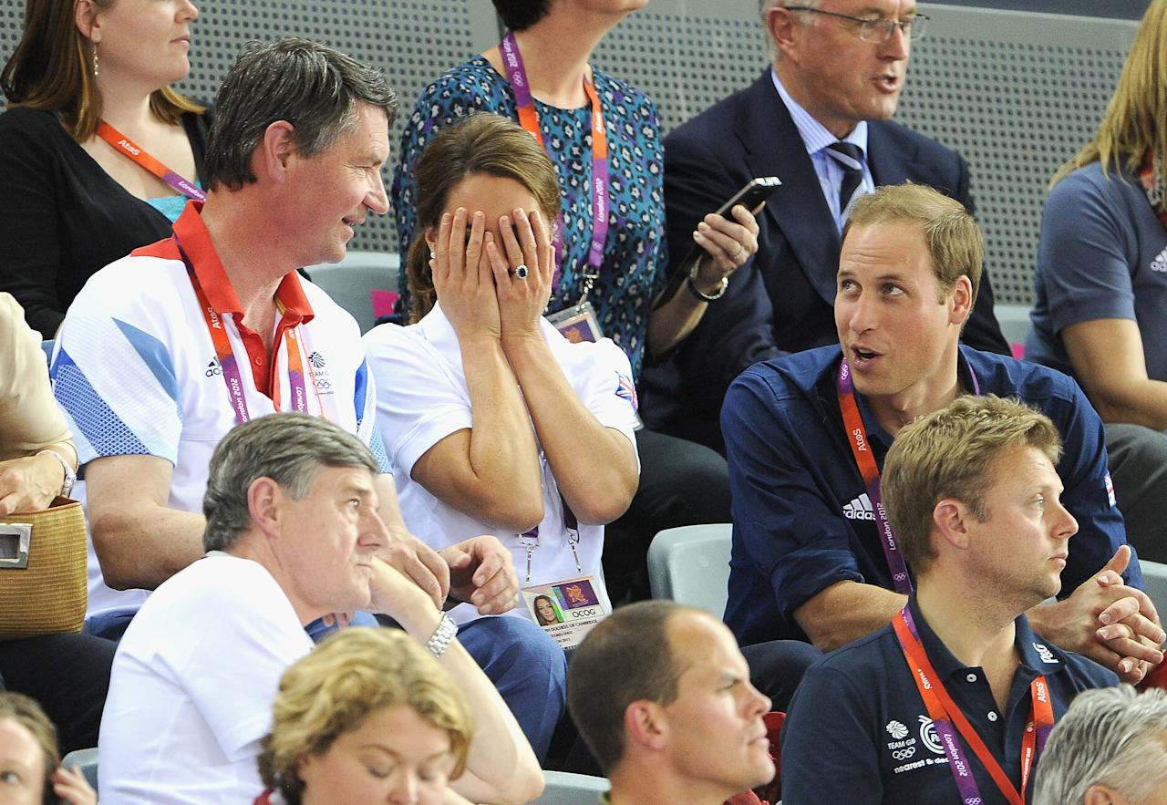 Sir Tim Lawrence, Catherine, Duchess of Cambridge and Prince William, Duke of Cambridge during Day 6 of the London 2012 Olympic Games at Velodrome on August 2, 2012 in London, England.  (Photo by Pascal Le Segretain/Getty Images)