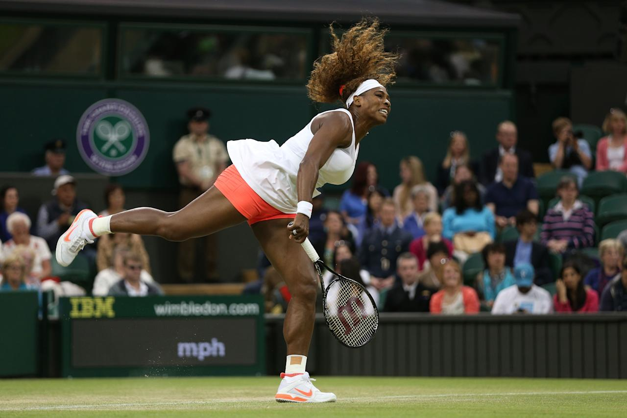 LONDON, ENGLAND - JUNE 29: Serena Williams of the United States of America serves during the Ladies' Singles third round match against Kimiko Date-Krumm of Japan on day six of the Wimbledon Lawn Tennis Championships at the All England Lawn Tennis and Croquet Club on June 29, 2013 in London, England. (Photo by Clive Brunskill/Getty Images)