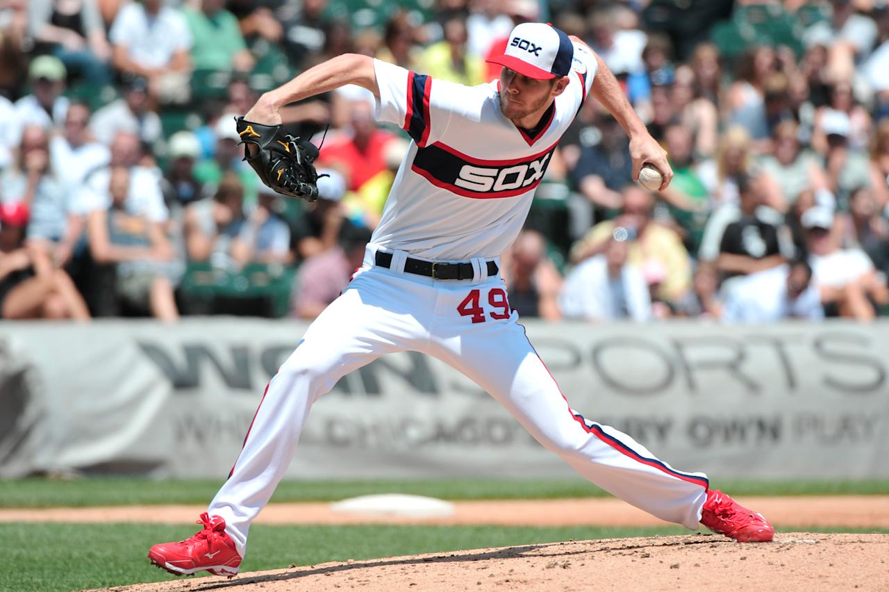 Jun 30, 2013; Chicago, IL, USA; Chicago White Sox starting pitcher Chris Sale (49) delivers a pitch against the Cleveland Indians during the third inning at U.S. Cellular Field. (Rob Grabowski-USA TODAY Sports)