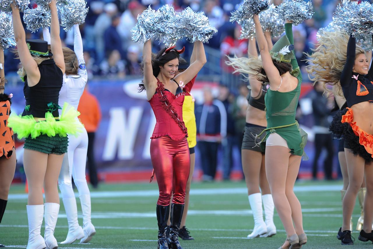 October 21, 2012; Foxboro, MA USA; The New England Patriots cheerleaders perform before the start of a game against the New York Jets at Gillette Stadium. Mandatory Credit: Bob DeChiara-US PRESSWIRE