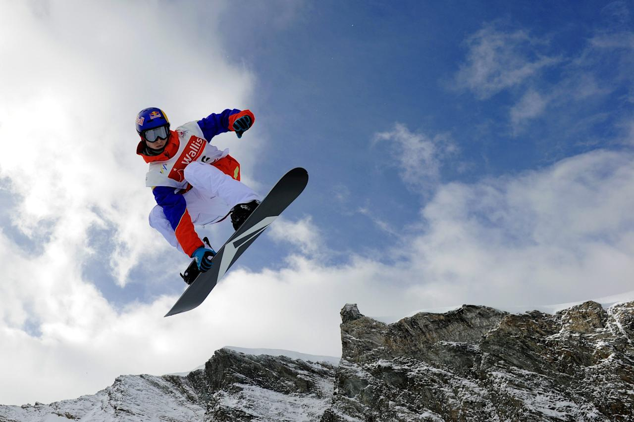 Iouri Podladtchikov of Switzerland competes during the qualification of the men's Snowboard Half-Pipe FIS World Cup 2010 event on the Allalin glacier in Saas-Fee, Switzerland, Wednesday, Nov 3, 2010.