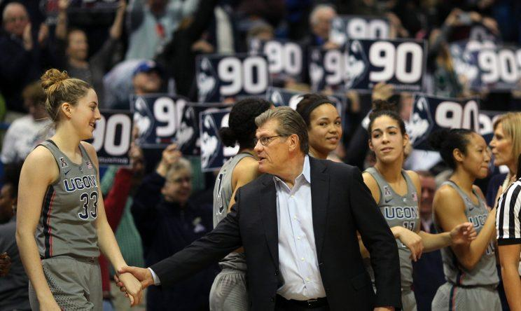 Geno Auriemma and UConn star Katie Lou Samuelson celebrated win No. 90 on Tuesday against USF. They broke their own record with No. 91 Saturday at SMU. (Getty)