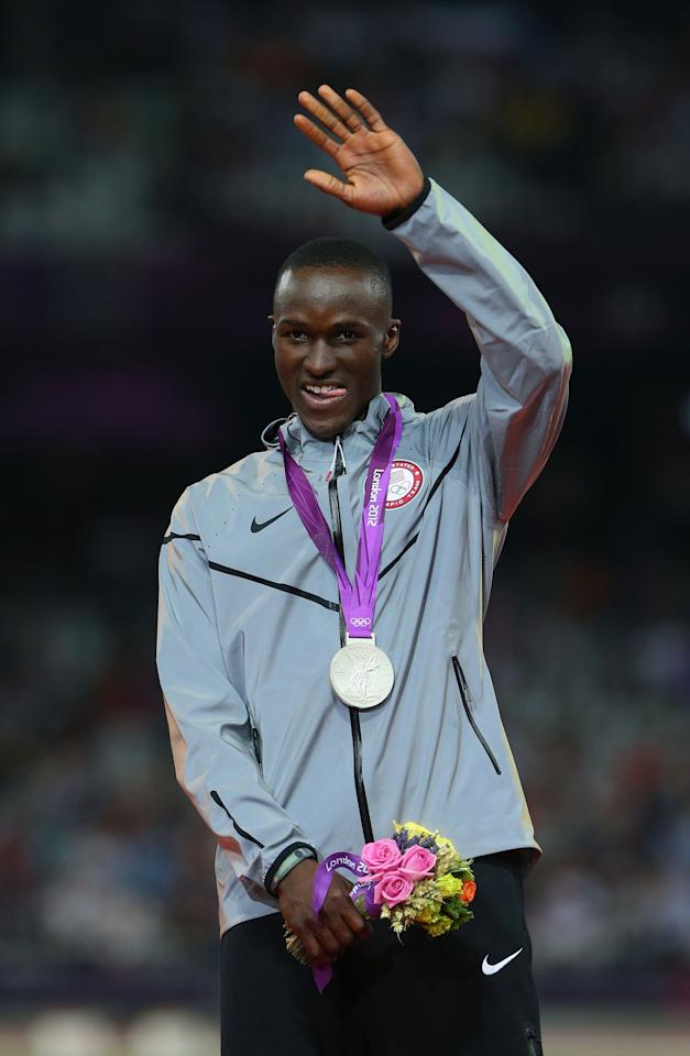LONDON, ENGLAND - AUGUST 09:  Silver medalist Will Claye of the United States celebrates on the podium during the medal ceremony for the Men's Triple Jump on Day 13 of the London 2012 Olympic Games at Olympic Stadium on August 9, 2012 in London, England.  (Photo by Cameron Spencer/Getty Images)