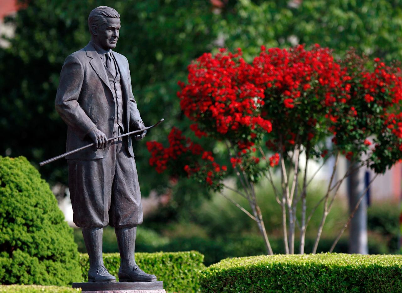JOHNS CREEK, GA - AUGUST 13:  A statue of Bobby Jones is seen outside the clubhouse during the third round of the 93rd PGA Championship at the Atlanta Athletic Club on August 13, 2011 in Johns Creek, Georgia.  (Photo by Michael Heiman/Getty Images)