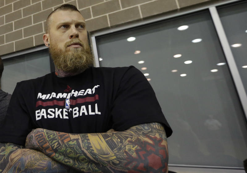 Miami Heat forward Chris Andersen stands on the sideline during a media availability for the NBA basketball finals on Saturday, June 14, 2014, in San Antonio. Miami plays Game 5 against the San Antonio Spurs on Sunday