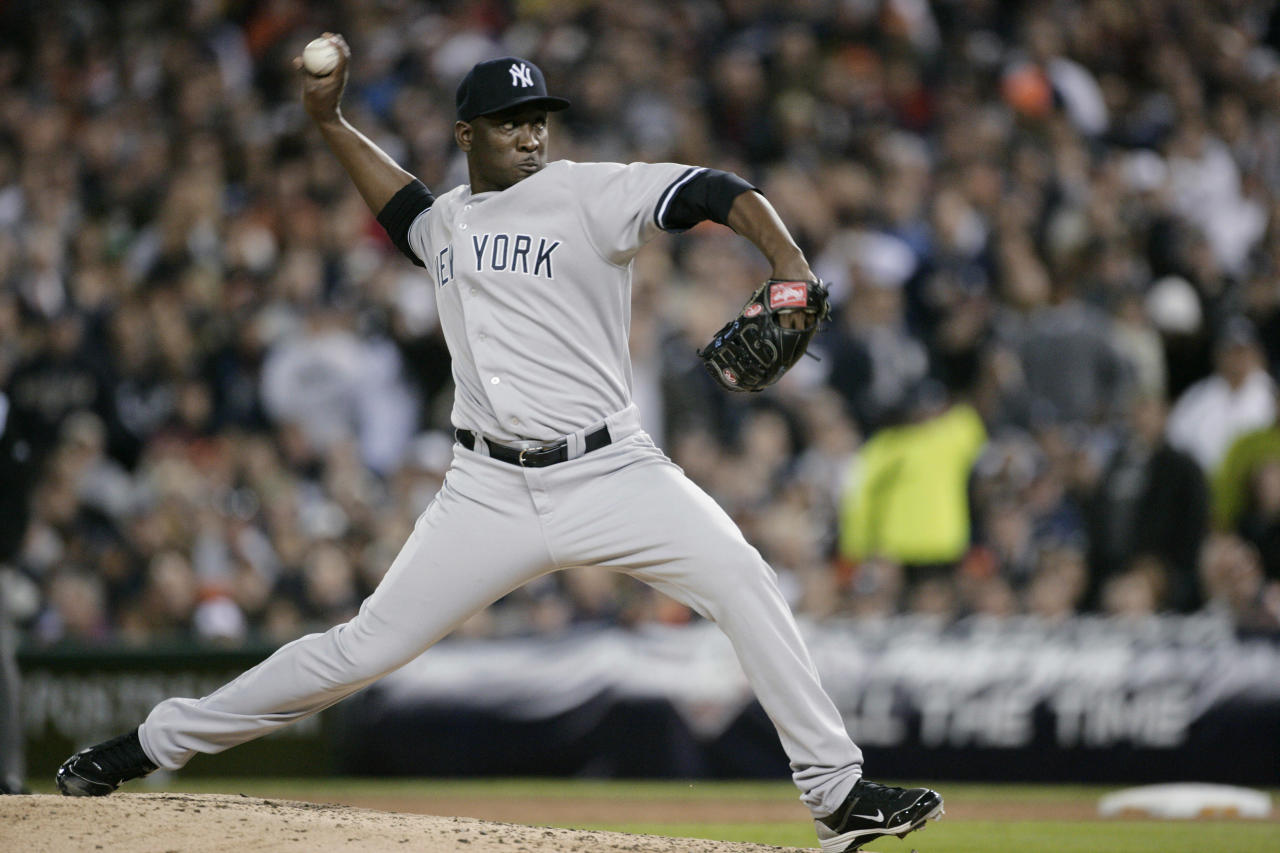 New York Yankees relief pitcher Rafael Soriano throws during the sixth inning of Game 3 of baseball's American League division series against the Detroit Tigers on Monday, Oct. 3, 2011, in Detroit. The Tigers won 5-4. (AP Photo/Duane Burleson)
