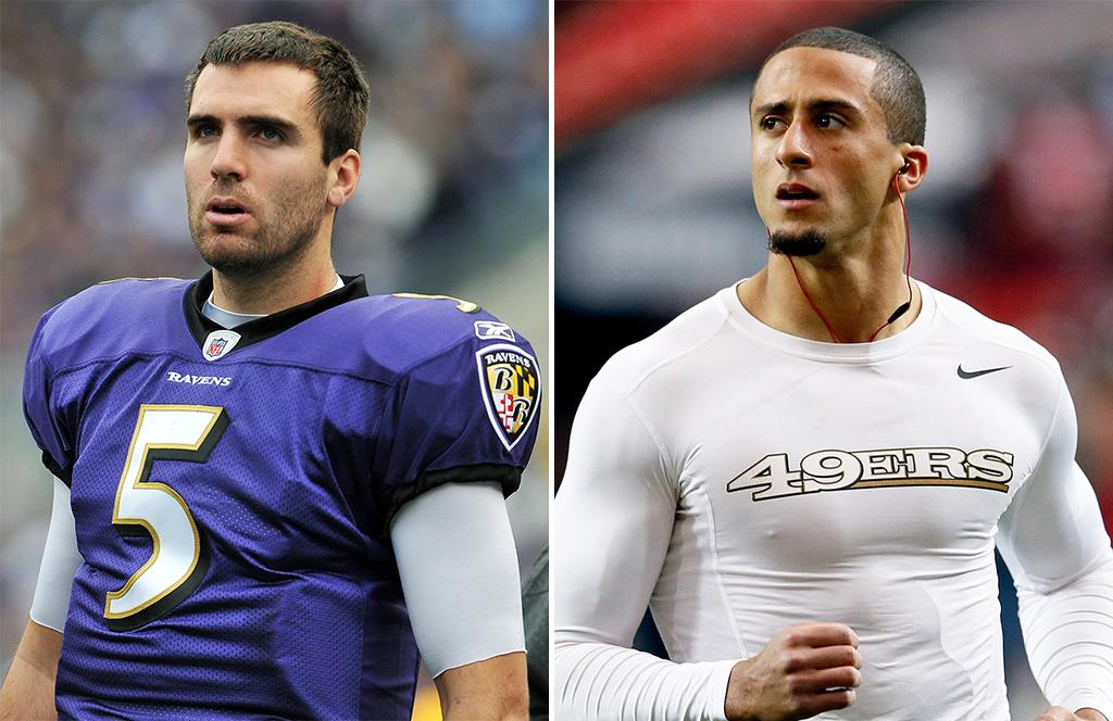 """The QT on the QB. Both newbies in football's biggest game, the Baltimore Ravens' Joe Flacco may be more of a known entity, but the 49ers' Colin Kaepernick is dominating the QB searches: Queries for """"colin kaepernick"""" (and the misspelling """"colin kapernick"""") outnumber """"joe flacco"""" four to one. Add up those related queries, though, and the ranking changes: Flacco queries are pretty much strictly business (""""joe flacco stats"""") except for curiosity about those wedding photos, whereas people want to know about Kaepernick's ethnicity, those tattoos, and the wedgie statue. But throw in those look-ups about Flacco's negotiations for a salary boost ($20 million contract?) and then the Baltimore QB's overall buzz gets boosted too, about four times that of Kaepernick's."""