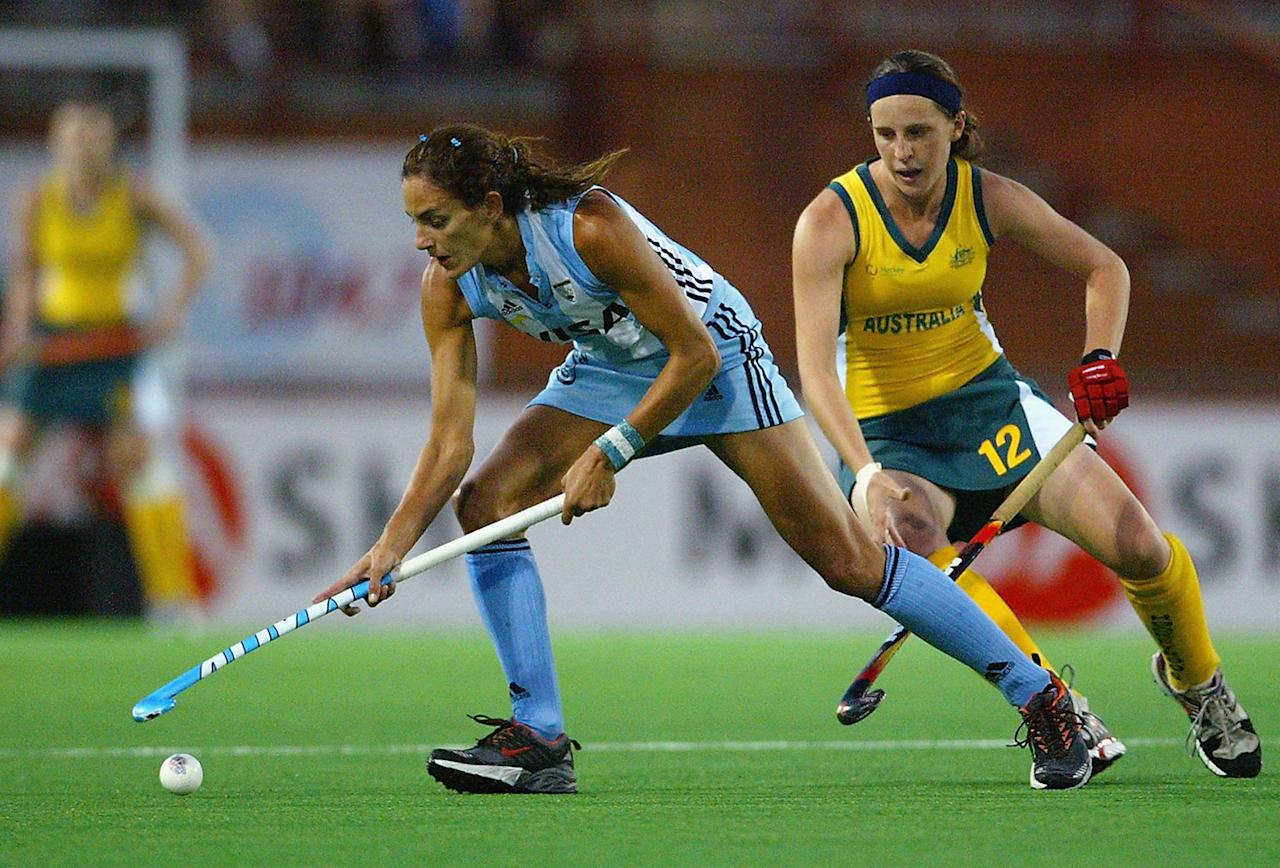 Luciana Aymar of Argentina in action during the Women's Hockey Champions Trophy fourth round match between Argentina and Australia at the Canberra Hockey Centre on December 1, 2005 in Canberra, Australia.