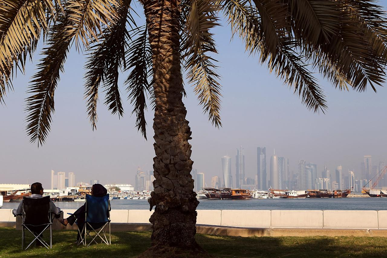 DOHA, QATAR - JANUARY 08: Locals takie in the view of the city of Doha on January 8, 2011 in Doha, Qatar.  (Photo by Robert Cianflone/Getty Images)