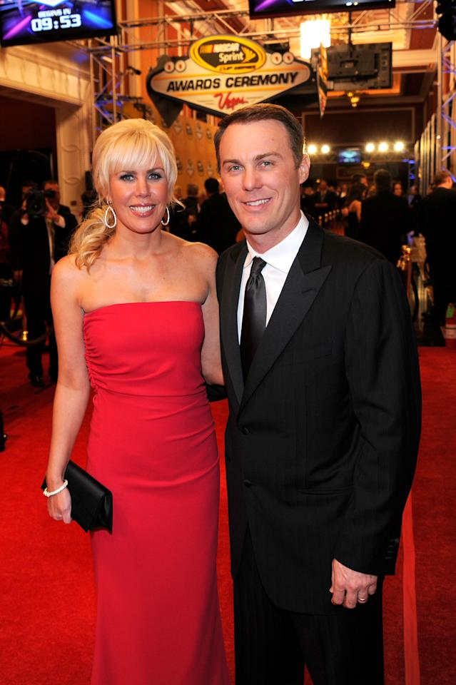 LAS VEGAS, NV - DECEMBER 02:  Driver Kevin Harvick (R) and his wife DeLana (L) attend the NASCAR Sprint Cup Series Champion's Week Awards Ceremony at Wynn Las Vegas on December 2, 2011 in Las Vegas, Nevada.  (Photo by Ethan Miller/Getty Images)