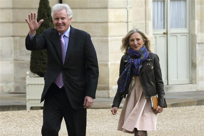 General Electric Chairman and CEO Jeffrey Immelt and Clara Gaymard, the head of GE France, arrive for a meeting to discuss the future of French engineering group Alstom at the Elysee Palace in Paris