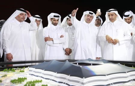 Secretary-General Hassan Al-Thawadi of Qatar's Supreme Committee for Delivery and Legacy speaks during a news conference to announce the start of work on the Al-Khor Stadium in Al-Khor