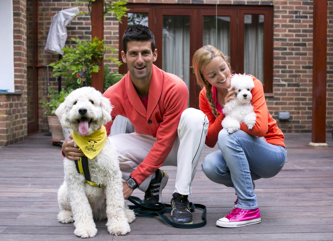 EDITORIAL USE ONLY: World number one tennis player and dog lover Novak Djokovic with his girlfriend Jelena Ristic and their pet poodle, Pierre, play with Goldendoodle Bella, a Dogs Trust rescue dog, which Novak named this morning at his temporary residence in Wimbledon, south west London, to raise awareness of Dogs Trust and help find Bella a new home. PRESS ASSOCIATION Issue date: Friday June 21, 2013. Photo credit should read: John Phillips/PA Wire